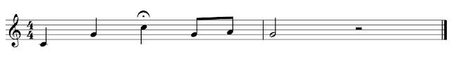 Partitura con calderón en la tercera figura, negra