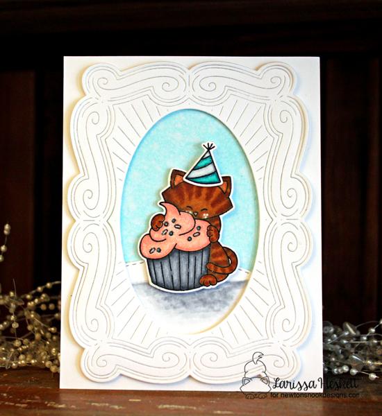 Cat and cupcake Birthday card by Larissa Heskett   Newton Loves Cake Stamp Set by Newton's Nook Designs