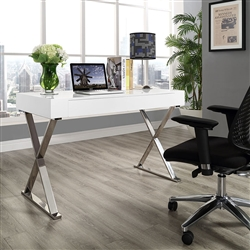 White Office Desk with Metal Legs