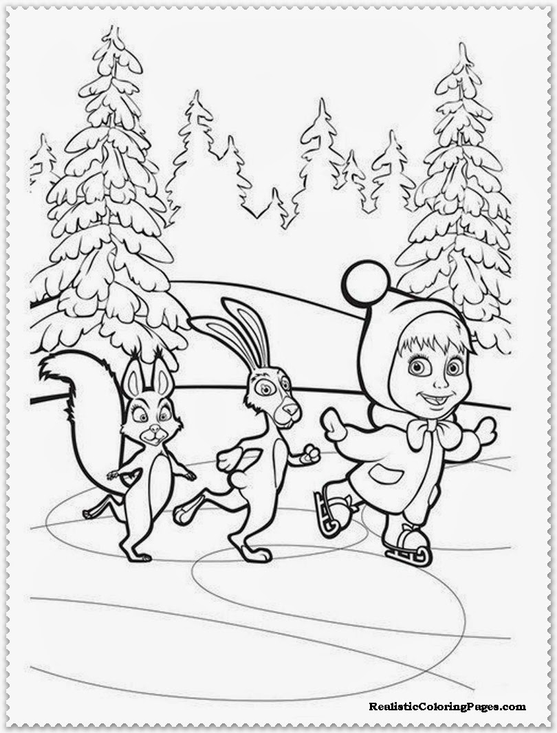 masha and the rabbit ice skating coloring sheet