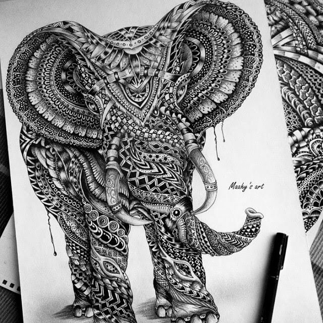 09-Elephant-Maahyart-Animal-Drawings-Steeped-in-Zentangle-www-designstack-co