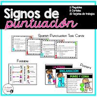 signos de puntuación task cards