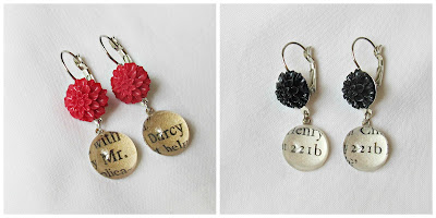 image earrings jane austen mr darcy pride and prejudice sherlock holmes 221b baker street literature two cheeky monkeys floral botanica