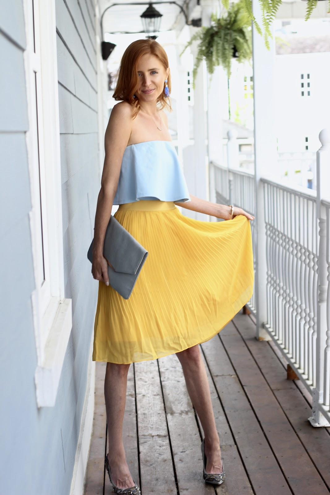 Target yellow pleat midi skirt, Blue strapless ruffle top, blue clutch, Sam Edelman sequin pumps, blue drop earrings, pale blue earring, Transitioning to fall with Yellow