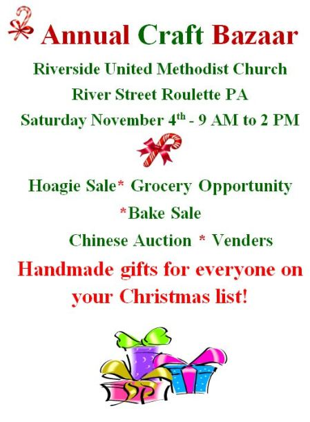 11-4 Annual Craft Bazaar Riverside UM Church