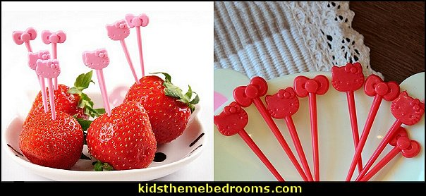 Hello Kitty Design Plastic Fruit Forks  hello kitty party supplies - hello kitty party decorations ideas - Hello Kitty party decor - Hello Kitty balloons - hello kitty cake - Hello Kitty party table decorations - Hello Kitty cupcakes - Hello Kitty themed party - Hello Kitty Costume