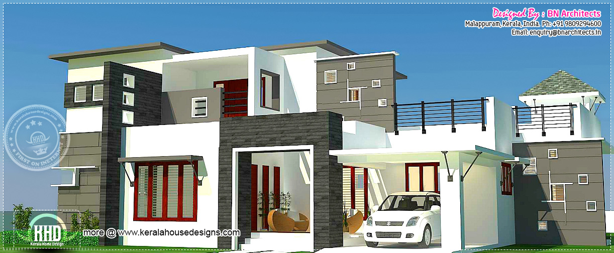 3 bhk 2300 contemporary house exterior kerala for Modern home plans 2500 sq ft