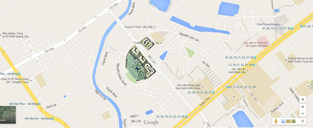 Vị trí chung cư Booyoung Mỗ Lao Hà Đông
