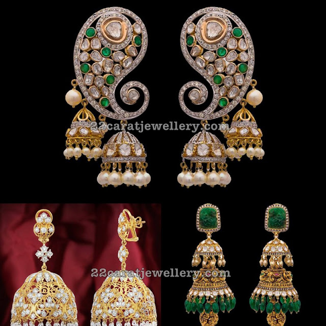 Antique Finish Diamond Heavy Jhumkas