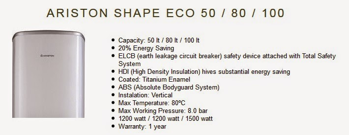 spek ariston shape eco 80 liter