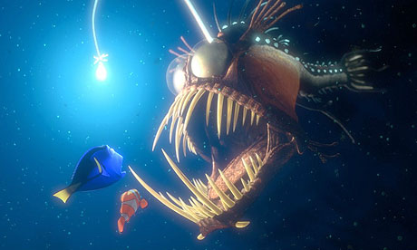 Dory and Marlin talk to a scary fish in Finding Nemo