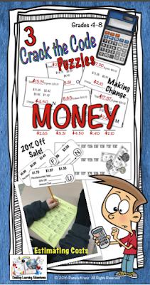 Money: 3 Crack the Code puzzles giving students practice with making change, calculating 20% off, and estimating costs.
