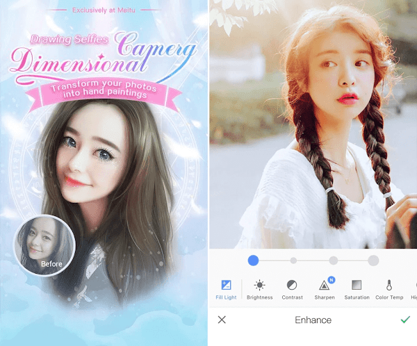Edit selfie wajah anime dengan Meitu