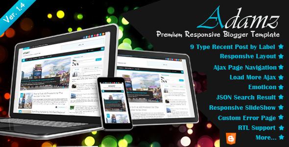 adamz responsive premium blogger theme template