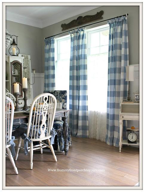 Fall Dining Room-French Country-Buffalo Check Curtains-Blue and White-DIY-Fiddleback Dining Chairs-Waverly Ballad Bouquet-From My Front Porch To Yours