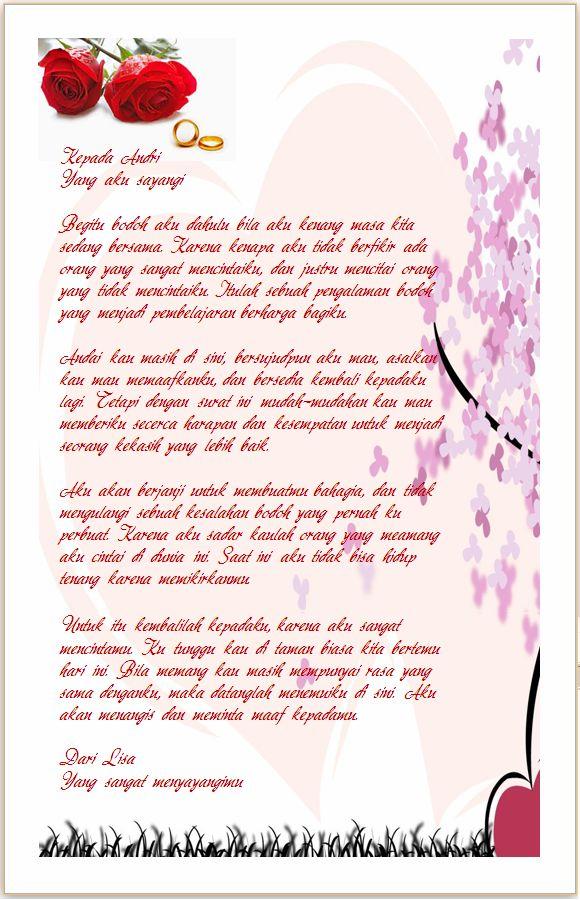 Contoh Surat Cinta Ingin Balikan dengan Mantan