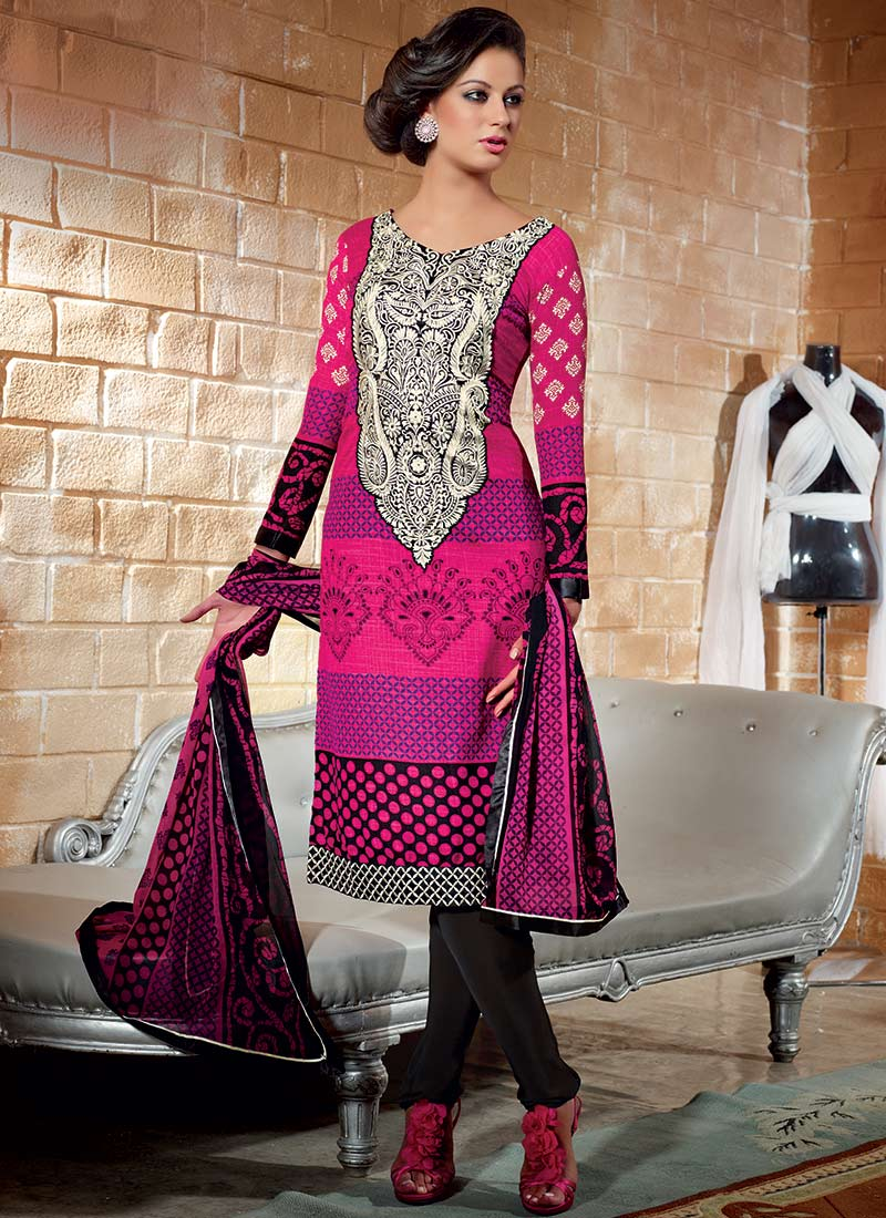 Printed Crepe Churidar Suit