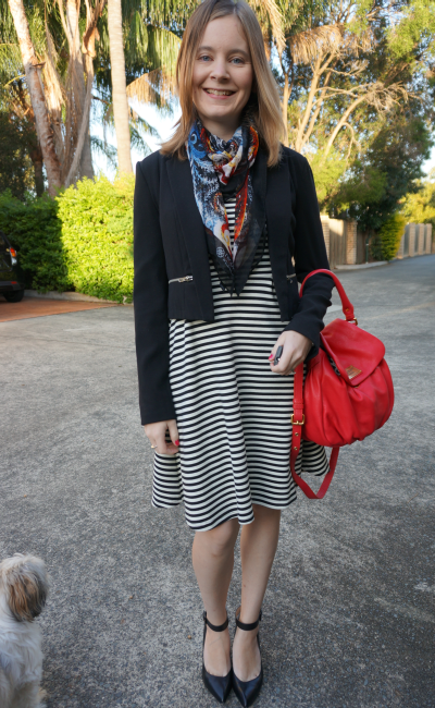 Away From Blue print mixing with scarf striped dress blazer heels red bag for office