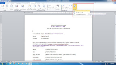 Cara Membuat Mail Merge di Ms Office Word dengan data dari Ms Office Excel