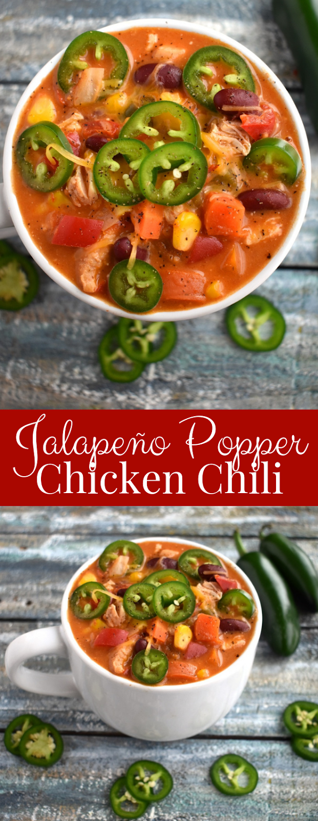 Photos of bowl of jalapeno popper chicken chili