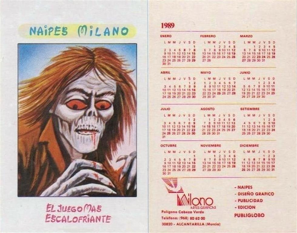 Calendario Milano.Barajas Y Naipes Calendario Milano