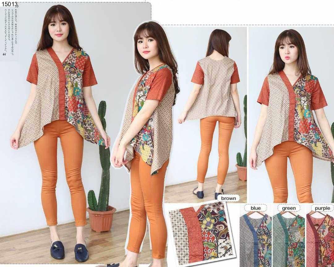 Jual Baju Batik Haruka Asymetris Batik Blouse - 15013