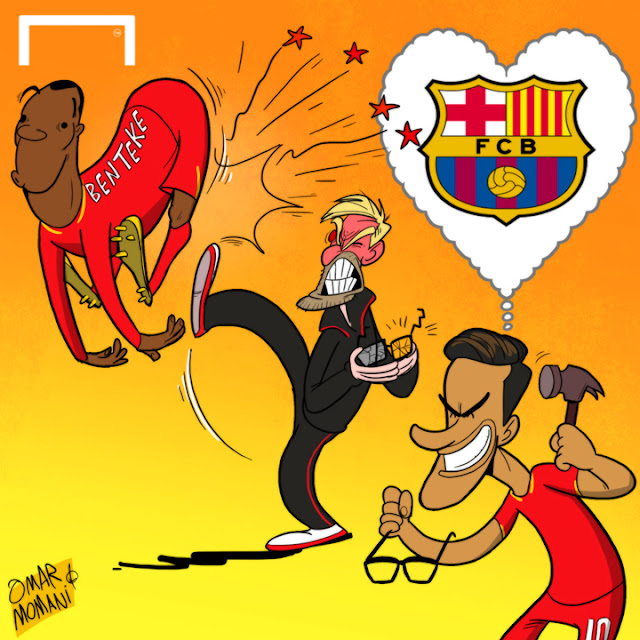 Jurgen Klopp, Philippe Coutinho, Christian Benteke cartoon
