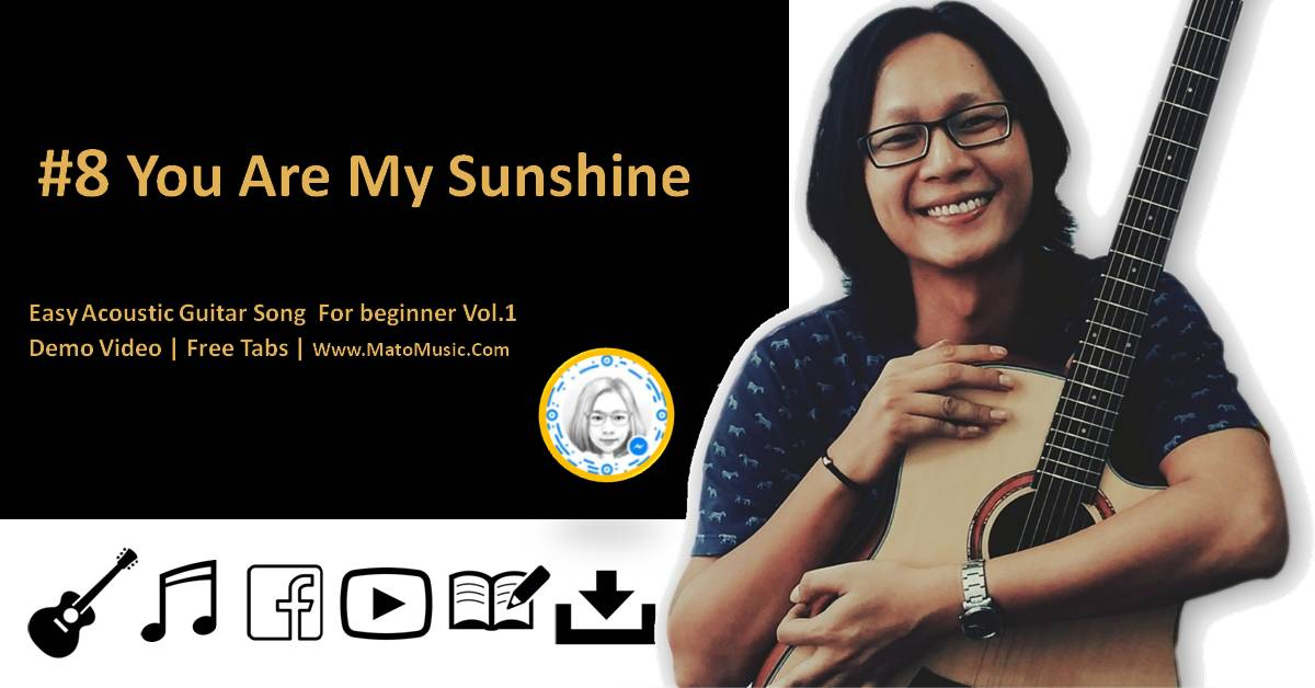 You Are My Sunshine Acoustic Guitar Tabs For Beginner | Video | Tabs by mato music