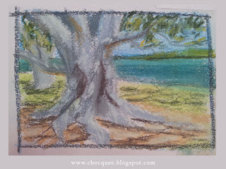 en plein air pastel drawing by Australian illustrator Christian Bocquee beside the water at Cabbage Tree Creek