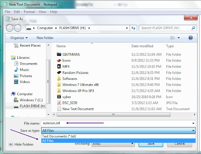 write autorun file flash drive
