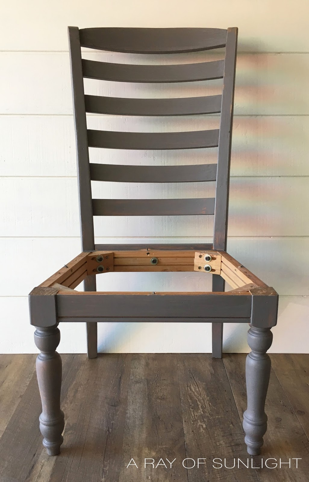 Transform Dining Chairs with Chalk Paint to get a Restoration Hardware Weathered Faux finish by arayofsunlight.com