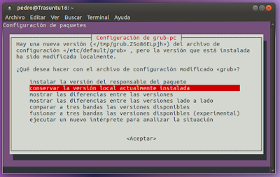 Configuracion de grub-pc conservar la version