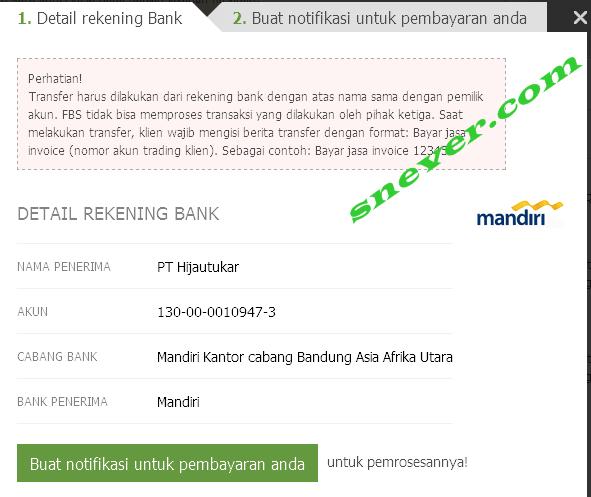 Cara melakukan deposit dana di FBS melalui bank lokal indonesia