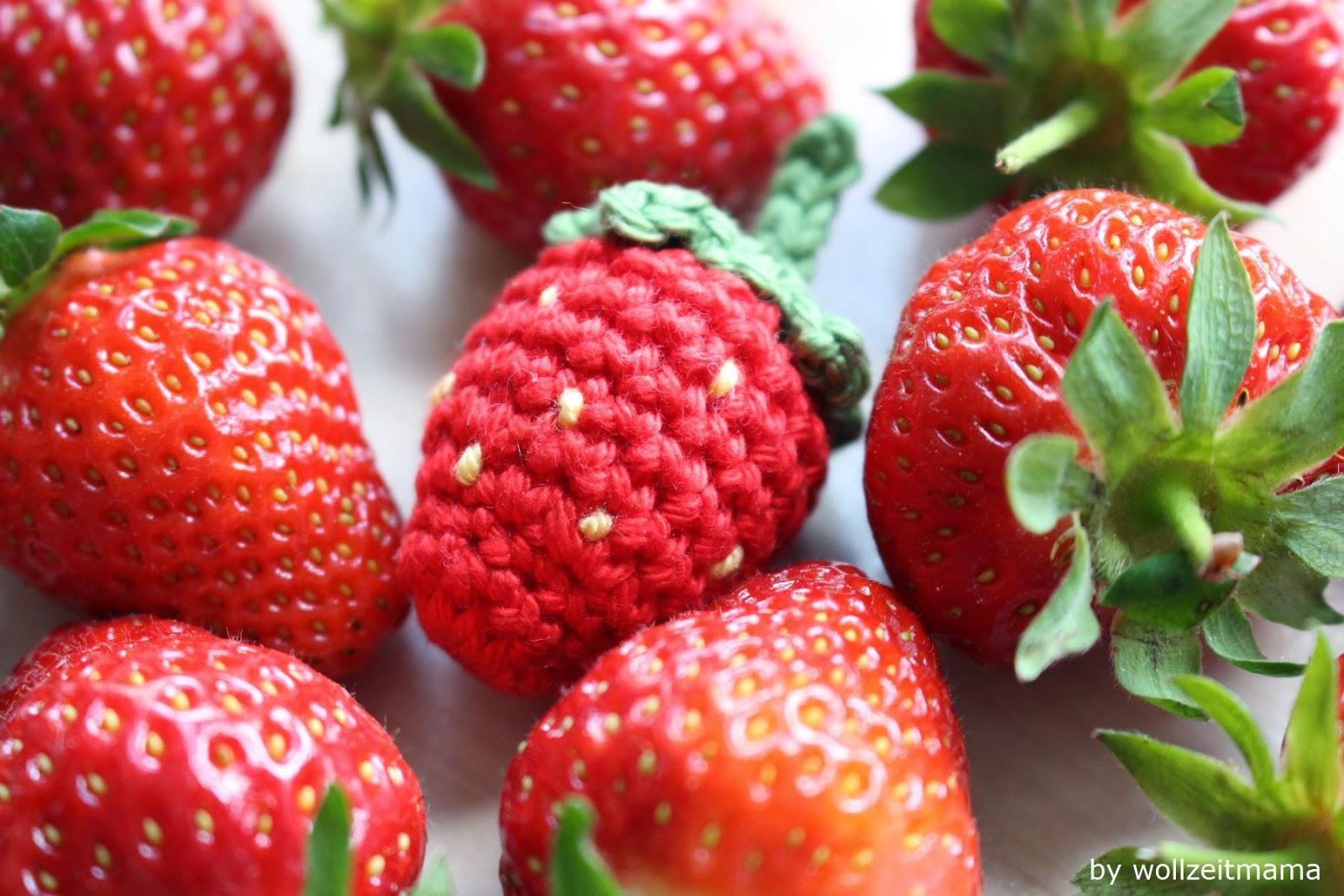 Wollzeitmama Erdbeeren Häkeln Für Kinderküche Und Halskette