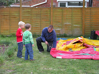 inflating the bouncy castle