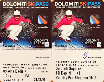Pass for Alta Badia and pass for the Sellaronda route (Dolomiti Superski).