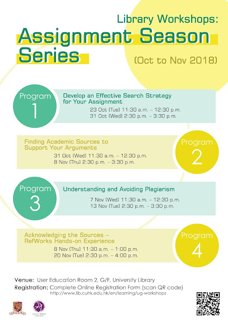 Library Workshops: Assignment Season Series (Oct to Nov 2018)