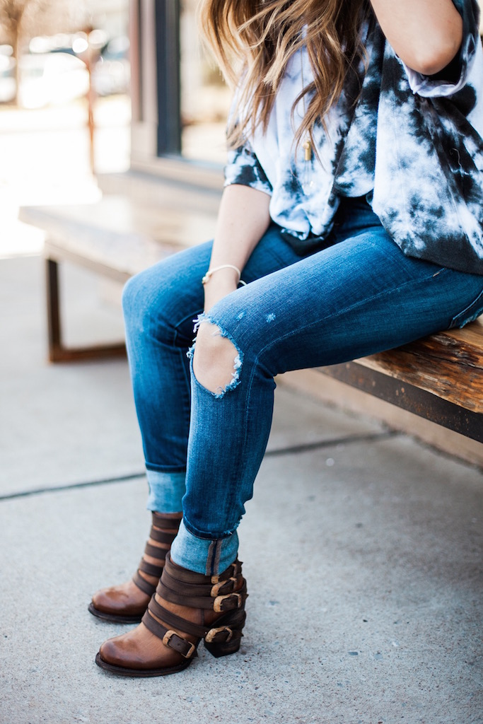 KBStyled: dl 1961 jeans distressed jeans booties freebird by steven
