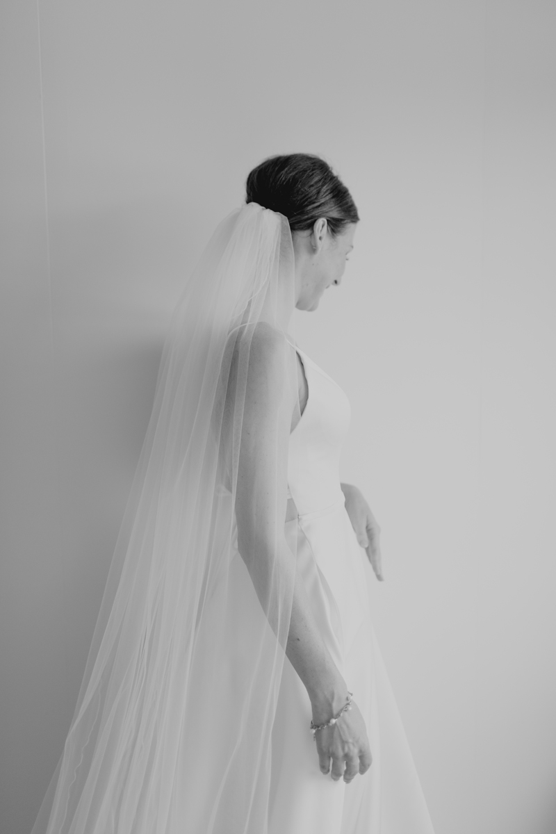bw shot of bride