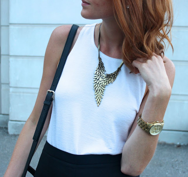 Black, white and gold outfit