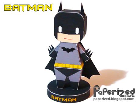 Papercraft imprimible y armable de un simpático Batman. Manualidades a Raudales.