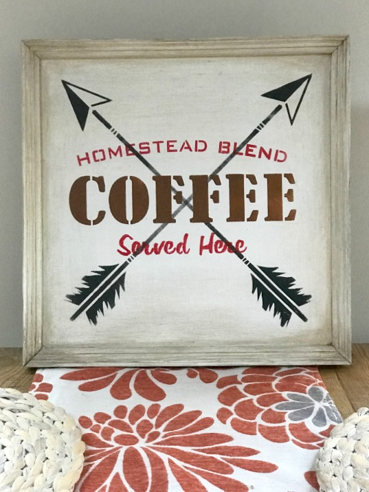 Gel stained Arrow Rustic Coffee Sign