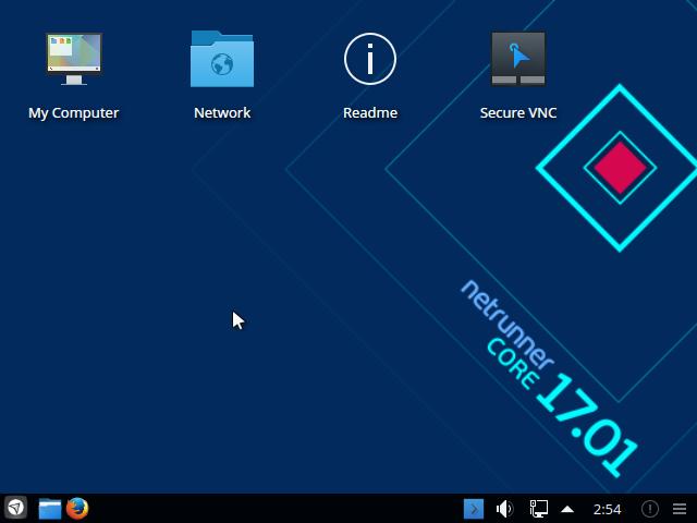 インストール直後のNetrunner Core 17.1のデスクトップです。デスクトップ環境はKDE Plasma 5.8です。
