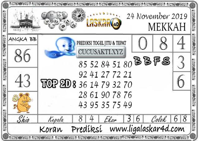 Prediksi Togel MEKKAH LASKAR4D 24 NOVEMBER 2019