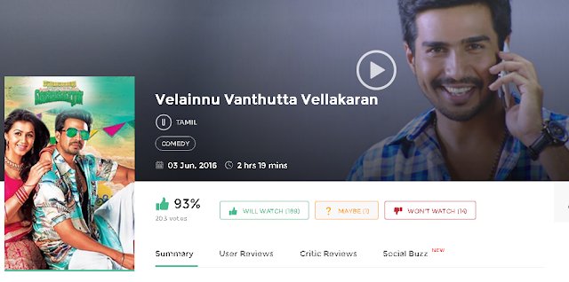 Velainnu Vanthutta Vellakaran 2016 Tamil Movie 300mb & 700Mb Mp4