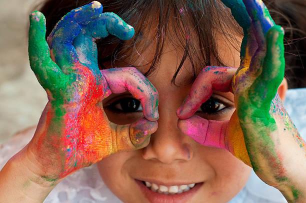 colorful hands holi 2018