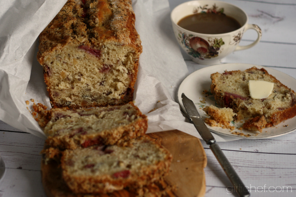 Strawberry Hazelnut Buttermilk Quick Bread | www.girlichef.com