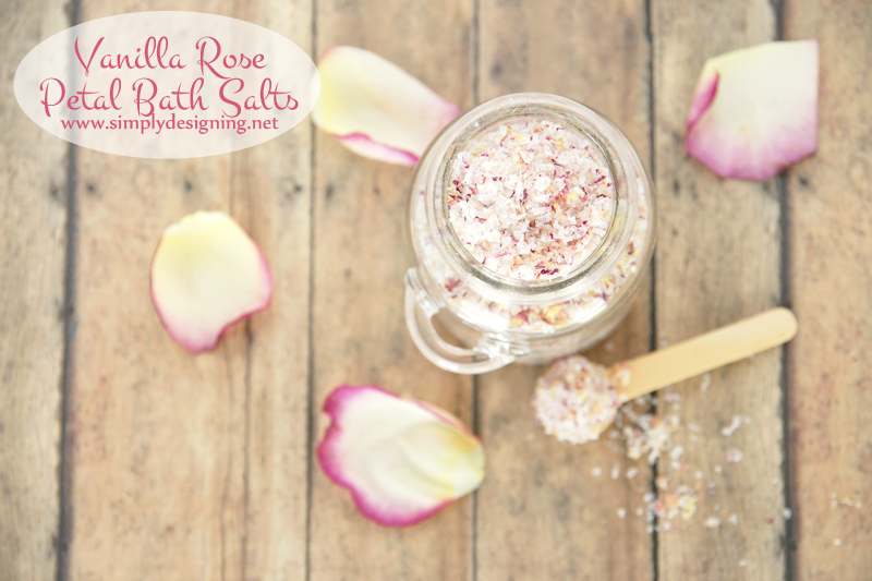 Vanilla Rose Petal Bath Salts in a jar with a wooden spoon viewed from top of jar