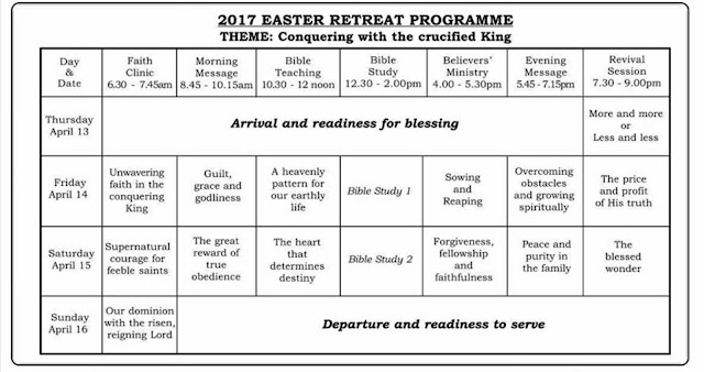 Deeper Life Easter Retreat 2017 programme