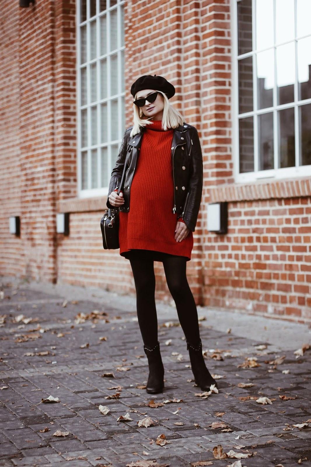 Czerwona, swetrowa sukienka